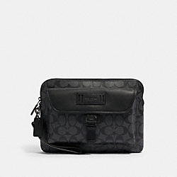COACH 2811 - RANGER POUCH IN SIGNATURE CANVAS QB/CHARCOAL/BLACK