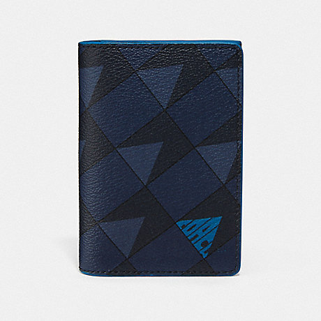 COACH 2824 BUSINESS CARD CASE WITH CHECK GEO PRINT QB/NAVY