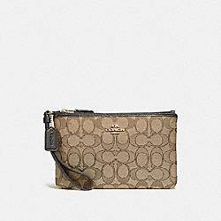 COACH 28326B Boxed Small Wristlet In Signature Jacquard LI/KHAKI/BROWN