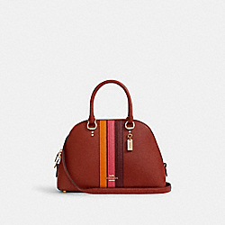 COACH 2839 Katy Satchel With Varsity Stripe IM/TERRACOTTA/ELCTRC PNK MULTI