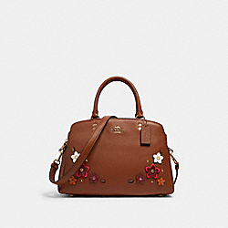 LILLIE CARRYALL WITH DAISY APPLIQUE - 2848 - IM/REDWOOD MULTI