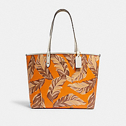 COACH 2850 - REVERSIBLE CITY TOTE WITH BANANA LEAVES PRINT IM/RDWD SNBEM MULTI/REDWOOD