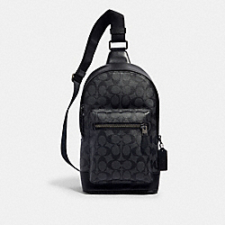COACH 2853 - WEST PACK IN SIGNATURE CANVAS QB/CHARCOAL BLACK