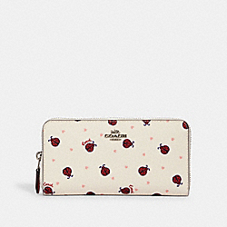 COACH 2856 - ACCORDION ZIP WALLET WITH LADYBUG PRINT SV/CHALK/ RED MULTI