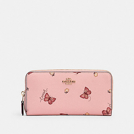 COACH ACCORDION ZIP WALLET WITH BUTTERFLY PRINT - IM/BLOSSOM/ PINK MULTI - 2857