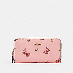 COACH 2857 - ACCORDION ZIP WALLET WITH BUTTERFLY PRINT IM/BLOSSOM/ PINK MULTI