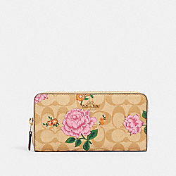 COACH 2859 - ACCORDION ZIP WALLET IN SIGNATURE CANVAS WITH PRAIRIE ROSE PRINT IM/KHAKI MULTI