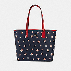REVERSIBLE CITY TOTE WITH AMERICANA STAR PRINT - 2860 - IM/NAVY RED MULTI/TRUE RED