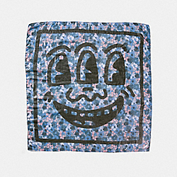 COACH X KEITH HARING SQUARE SCARF - 28618 - BLUE MULTI