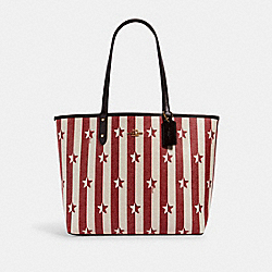 REVERSIBLE CITY TOTE WITH STRIPE STAR PRINT - 2861 - IM/CHALK RED MULTI/OXBLOOD