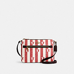 GALLERY FILE BAG WITH STRIPE STAR PRINT - 2863 - IM/CHALK/ RED MULTI
