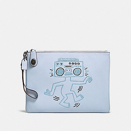 COACH 28678 COACH X KEITH HARING TURNLOCK WRISTLET 30 ICE-BLUE/BLACK-COPPER