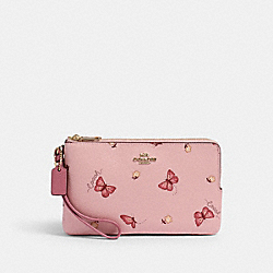 COACH 2873 Double Zip Wallet With Butterfly Print IM/BLOSSOM/ PINK MULTI