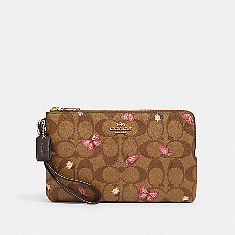 COACH DOUBLE ZIP WALLET IN SIGNATURE CANVAS WITH BUTTERFLY PRINT - IM/KHAKI PINK MULTI - 2874