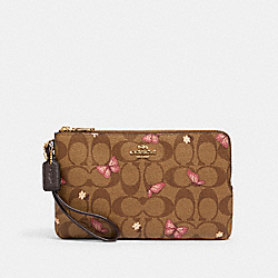 COACH 2874 - DOUBLE ZIP WALLET IN SIGNATURE CANVAS WITH BUTTERFLY PRINT IM/KHAKI PINK MULTI