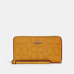 LARGE PHONE WALLET IN SIGNATURE LEATHER - 2876 - IM/HONEY