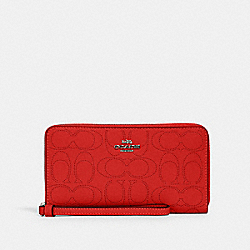 LARGE PHONE WALLET IN SIGNATURE LEATHER - 2876 - QB/MIAMI RED