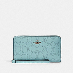 LARGE PHONE WALLET IN SIGNATURE LEATHER - 2876 - SV/SEAFOAM