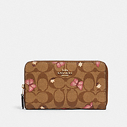 MEDIUM ZIP AROUND WALLET IN SIGNATURE CANVAS WITH BUTTERFLY PRINT - 2883 - IM/KHAKI PINK MULTI