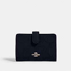 MEDIUM CORNER ZIP WALLET IN SIGNATURE LEATHER - 2884 - IM/MIDNIGHT