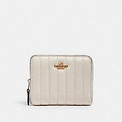 COACH 2886 - SMALL ZIP AROUND WALLET WITH LINEAR QUILTING IM/CHALK