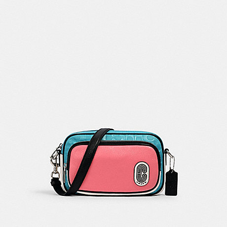 COACH 2906 COURT CROSSBODY IN COLORBLOCK SIGNATURE NYLON WITH COACH PATCH SV/AQUA PINK LEMONADE