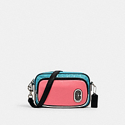 COACH 2906 - COURT CROSSBODY IN COLORBLOCK SIGNATURE NYLON WITH COACH PATCH SV/AQUA PINK LEMONADE
