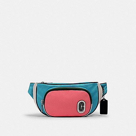 COACH 2907 COURT BELT BAG IN COLORBLOCK SIGNATURE NYLON SV/AQUA-PINK-LEMONADE
