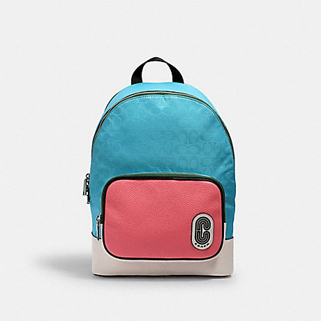 COACH 2908 COURT BACKPACK IN SIGNATURE NYLON WITH COACH PATCH SV/AQUA PINK LEMONADE