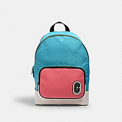 COACH 2908 - COURT BACKPACK IN SIGNATURE NYLON WITH COACH PATCH SV/AQUA PINK LEMONADE