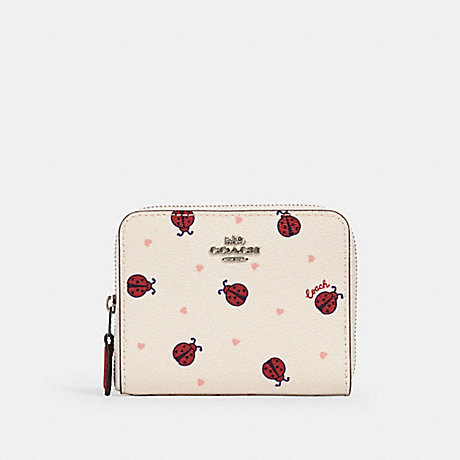 COACH SMALL ZIP AROUND WALLET WITH LADYBUG PRINT - SV/CHALK/ RED MULTI - 2913