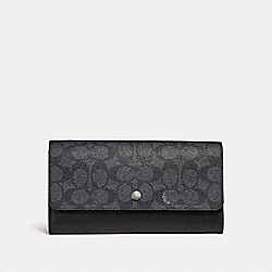 COACH 29193 - MULTIFUNCTIONAL WALLET IN SIGNATURE CANVAS CHARCOAL