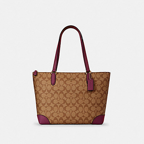 COACH 29208 ZIP TOP TOTE IN SIGNATURE CANVAS IM/KHAKI-DARK-BERRY