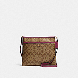 FILE CROSSBODY IN SIGNATURE CANVAS - 29210 - IM/KHAKI DARK BERRY