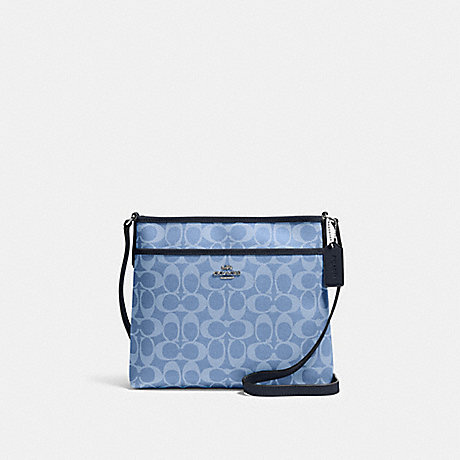 COACH 29210 FILE CROSSBODY IN SIGNATURE CANVAS SV/LIGHT-DENIM