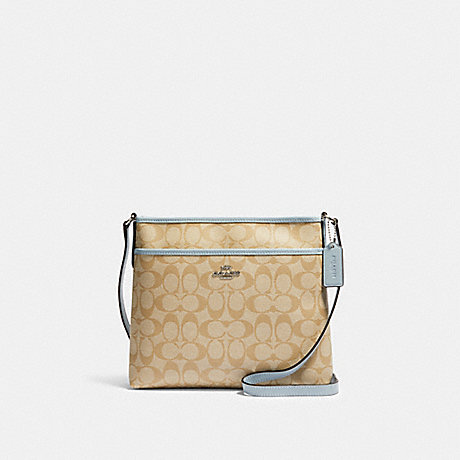 COACH 29210 FILE CROSSBODY IN SIGNATURE CANVAS SV/LIGHT-KHAKI-PALE-BLUE