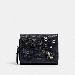 COACH 2922 - SMALL TRIFOLD WALLET WITH BUTTERFLY APPLIQUE QB/MIDNIGHT MULTI