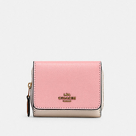 COACH 2923 SMALL TRIFOLD WALLET IN COLORBLOCK IM/TAUPE-MULTI