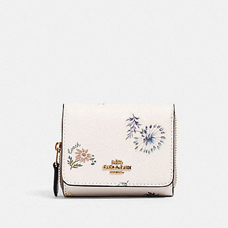 COACH SMALL TRIFOLD WALLET WITH DANDELION FLORAL PRINT - IM/CHALK/ BLUE MULTI - 2924