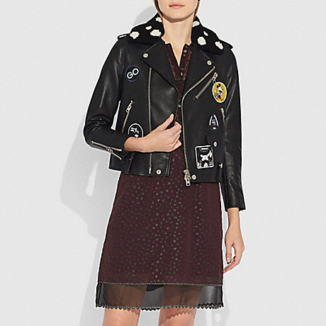 COACH 29451 EMBELLISHED MOTO JACKET WITH PATCHES BLACK