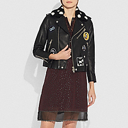 COACH 29451 - EMBELLISHED MOTO JACKET WITH PATCHES BLACK