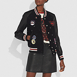 COACH 29452 - EMBELLISHED VARSITY JACKET WITH PATCHES BLACK