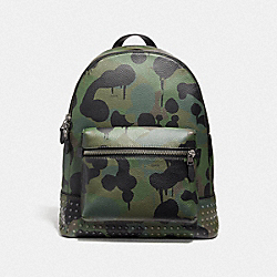 COACH 29491 - LEAGUE BACKPACK WITH WILD BEAST PRINT AND STUDS MILITARY/BLACK COPPER FINISH