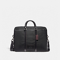 COACH 29515 - METROPOLITAN DOUBLE ZIP BUSINESS CASE BLACK ANTIQUE NICKEL/BLACK/BLACK