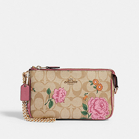 COACH 2953 LARGE WRISTLET 19 IN SIGNATURE CANVAS WITH PRAIRIE ROSE PRINT IM/KHAKI-MULTI
