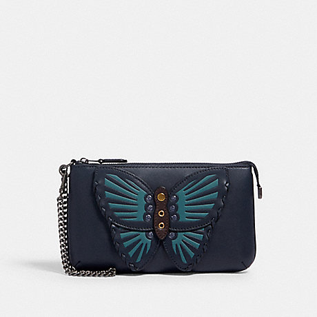 COACH LARGE WRISTLET WITH BUTTERFLY APPLIQUE - QB/MIDNIGHT - 2954