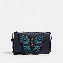 COACH 2954 - LARGE WRISTLET WITH BUTTERFLY APPLIQUE QB/MIDNIGHT