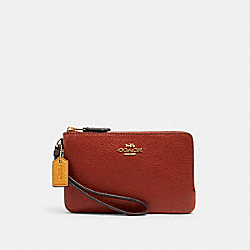 COACH 2959 - DOUBLE CORNER ZIP WRISTLET IN COLORBLOCK IM/TERRACOTTA/YELLOW MULTI