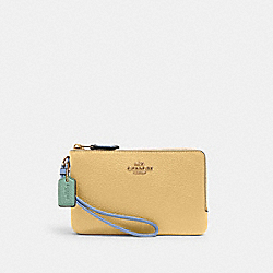 COACH 2959 - DOUBLE CORNER ZIP WRISTLET IN COLORBLOCK IM/VANILLA CREAM MULTI