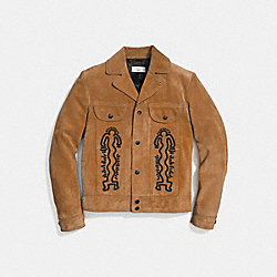 COACH X KEITH HARING SUEDE JACKET - 29602 - SAND